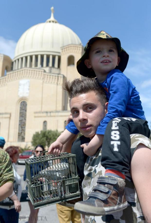 Young Maltese hunters take part in a gathering to celebrate the result of the referendum on spring hunting on April 12 in Qormi. Photo: Matthew Mirabelli