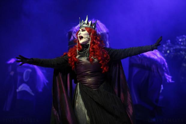 "Actor Tiziana Calleja plays Queen Pif Scriha in FM Production's pantomime ""Robin Hood and the Babes in the Woods"" at the Manoel Theatre in Valletta on December 21. Photo: Darrin Zammit Lupi"