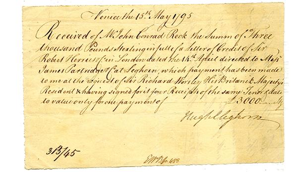 A bill of exchange dated May 15, 1795, for £3,000, signed in Venice by Cleghorn.