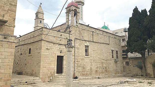 Al Khader Monastery.Right: The festival of Cerealia in a Roman street.