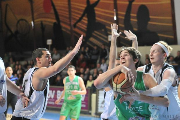 Virtus allowed Floriana very little space to manoeuvre in their basketball semifinal at the Ta' Qali Pavilion on March 29. Photo: Jason Borg