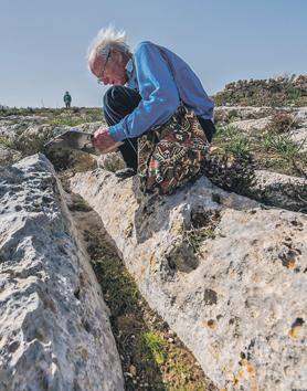 David Trump measuring cart ruts in the Nadur area. Photos: Daniel Cilia