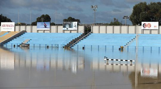 The Marsa sports ground flooded last Monday. Photo: Christ Sant Fournier