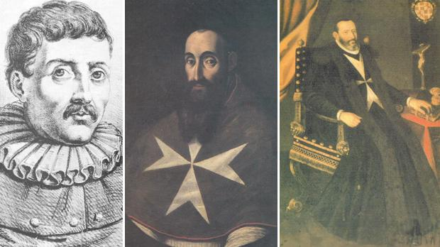 Left to right: an alleged resemblance of Gerolamo Cassar, the architect of St. John, Bishop Monsignor Tommaso Gargallo, who was overlooked in choosing a prelate to carry out the consecration of the conventual church of St. John and Scipione Pulzone de Gaeta 'portrait of the Grand Master Jean de Cassière housed in the sacristy of Saint John's Co-Cathedral, Valletta.