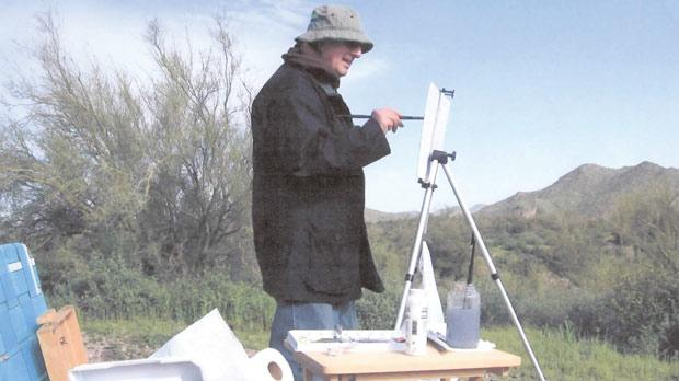 Edward Abela, who designed the Republic emblem of 1975, painting in Canada.