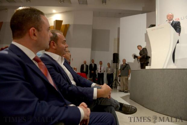 Labour party candidates Owen Bonnici, Dr Chris Cardona and Dr Stefan Zrinzo Azzopardi listen to Joseph Muscat's speech during the extraordinary meeting of the PL's general conference, convened to elect the new deputy leader for party affairs in Hamrun on June 9. Photo: Matthew Mirabelli