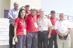 William Chetcuti (second from left) is flanked by officials from the MOC and the Malta Shooting Federation yesterday.