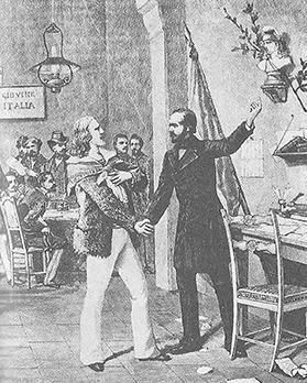 A young Giuseppe Garibaldi meeting Italian patriot Giuseppe Mazzini in 1831.