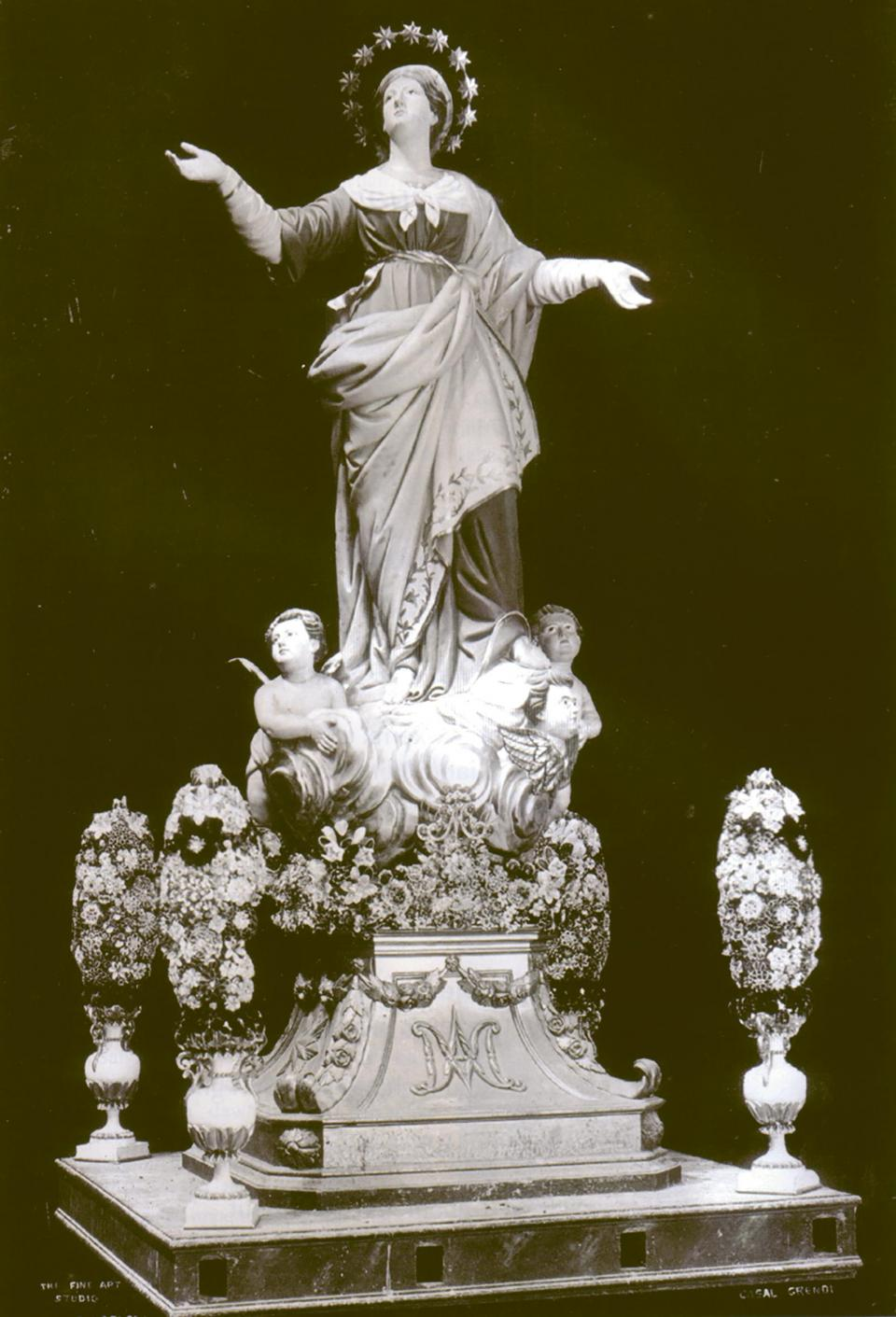 The statue of the Assumption as originally sculptured for the Qrendi parish church in 1837. Photo: St Mary's philarmonic society, Qrendi