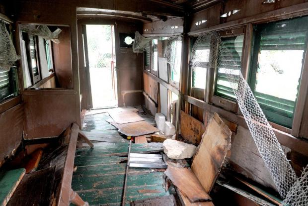 The only remaining carriage, which formed part of the Malta Railway, lies vandalized in what used to be the Birkirkara Station on January 28. The Malta Railway ran between Valletta and Rabat from 1883 to 1931. Photo: Chris Sant Fournier