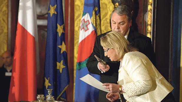 President Coleiro Preca seen at her swearing in on April 4, 2014.