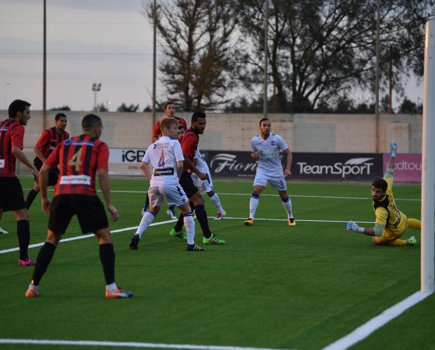 Hamrun Spartans defender Daniel Zerafa scores against St Andrews at the Centenary stadium in Ta Qali on September 8. Photo: Mark Zammit Cordina