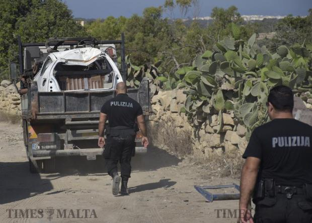 Planning Authority enforcement officers move in to clear two illegal scrapyards in Birżebbuġa on June 9. Photo: Mark Zammit Cordina