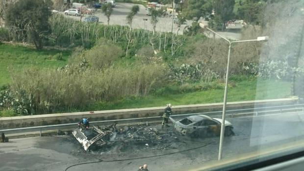 The caravan was burnt to the ground.