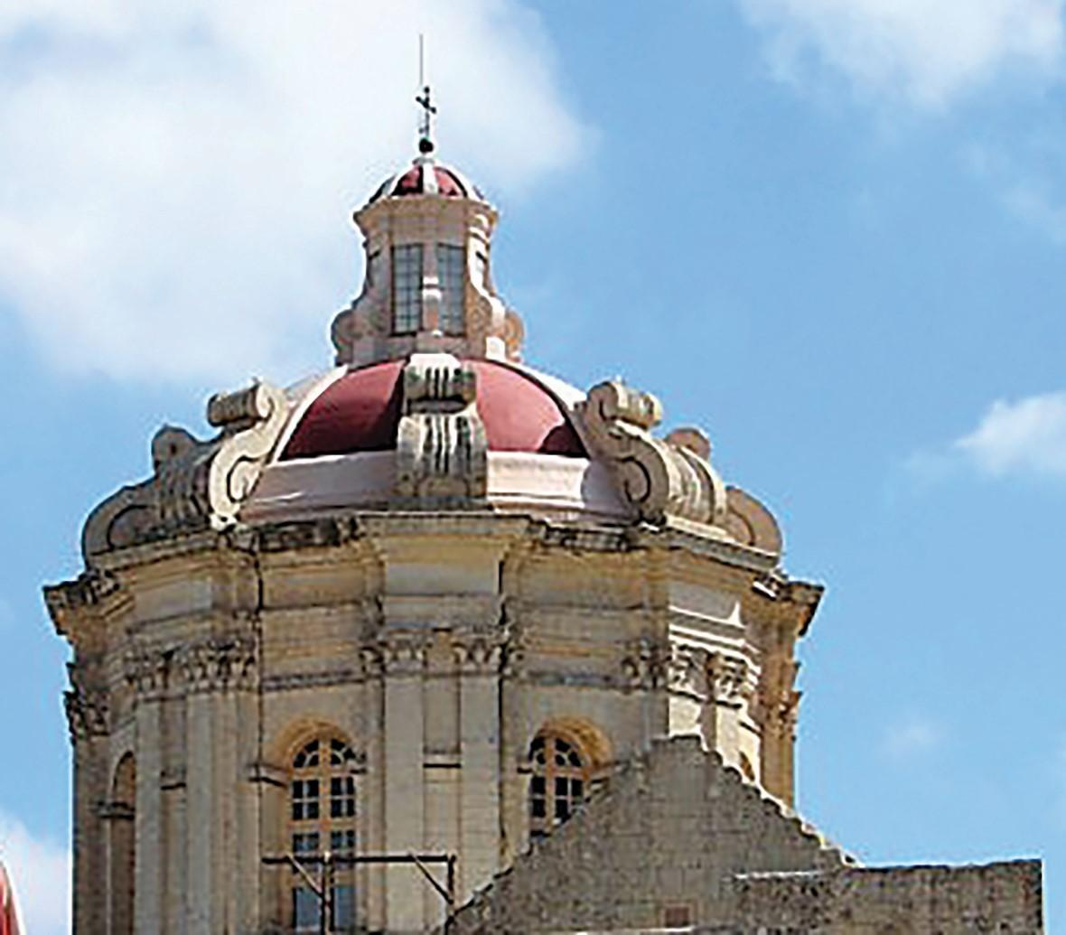 The Baroque exterior of Lorenzo Gafà's cupola atop St Paul's Cathedral, Mdina.