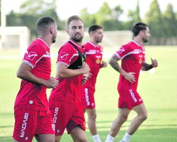 Andrei Agius (centre) during training with the national team in Ta' Qali. Photo: Chris Sant Fournier