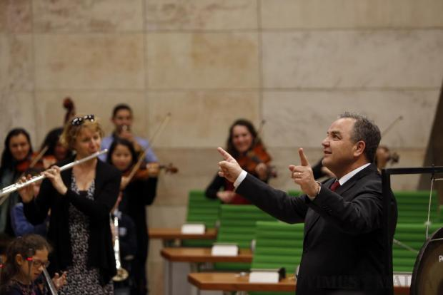 Speaker of the House Anglu Farrugia enjoys a light moment 'conducting' a concert in Parliament in Valletta on February 24. The concert was performed in parliament as part of the Music Educational Programme by the Malta Philharmonic Orchestra in collaboration with the Malta Youth Orchestra and various music schools and band clubs. Photo: Darrin Zammit Lupi