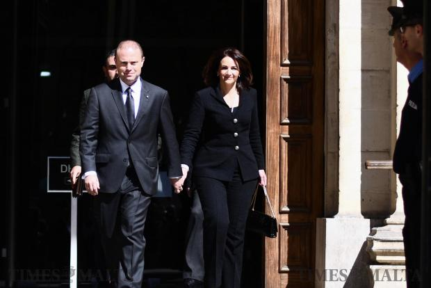 Prime Minister Joseph Muscat and his wife Michelle leave court after testifying in front of the magistrate investigating allegations over their connection with Panama company Egrant on April 22 Photo: Jonathan Borg