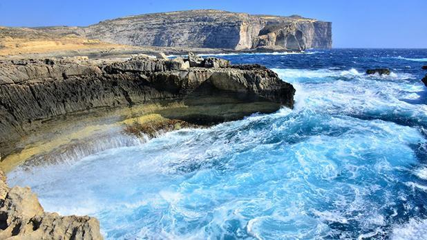 Rough sea off Dwejra. Photo: Franz Tabone