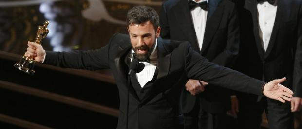 Director and producer Ben Affleck accepts the award for best motion picture for Argo.