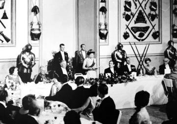 The Queen delivering a speech at a State banquet in her honour at the Palace, Valletta, during her 1967 visit.