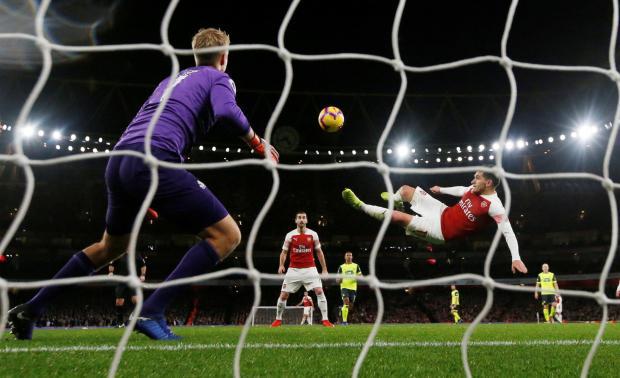 Arsenal's Lucas Torreira scores their first goal Action