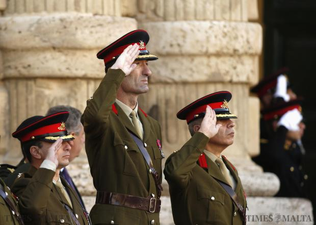 Senior officers of the Armed Forces of Malta participate during a national salute at a military parade to mark Malta's Republic Day in Valletta on December 13. Malta, a former British colony, became a republic in 1974, 10 years after gaining independence. Photo: Darrin Zammit Lupi