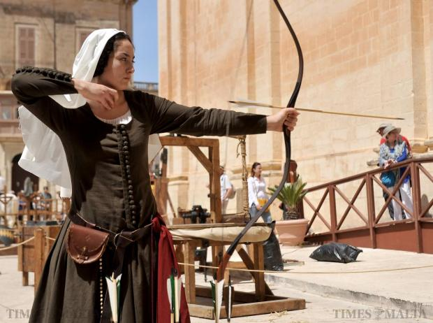 An archer launches an arrow during the Medieval Fest in Mdina on April 18. Photo: Chris Sant Fournier