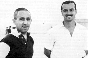 The late Joe Griffiths (left), Malta`s first national coach, with fellow coach and national team manager Frankie Debono.
