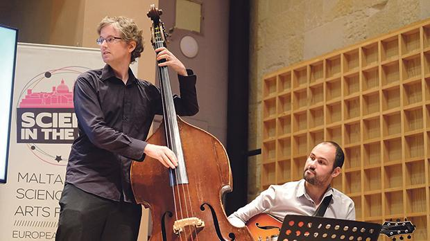 Double-bassist Diccon Cooper and Karl Galea on guitar interpreting the golden ratio into a jazzy piece.