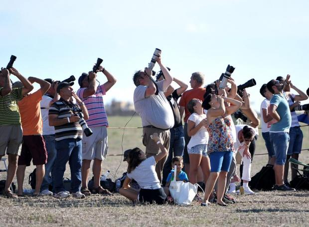 Photographers turn their cameras skywards at the Malta International Airshow on September 26. Photo: Chris Sant Fournier