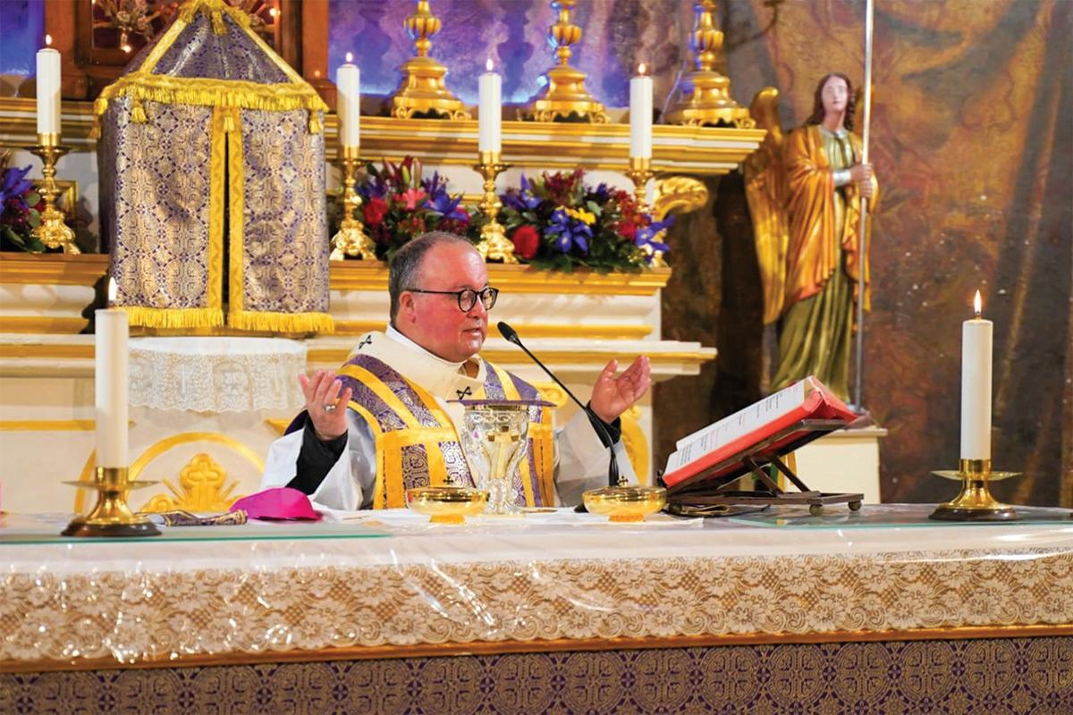 The archbishop celebrating mass.