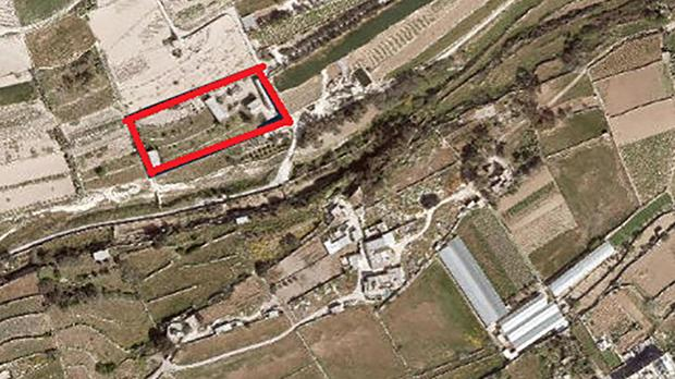 An aerial shot of the site (highlighted in red) of Mark Gasan's new villa.