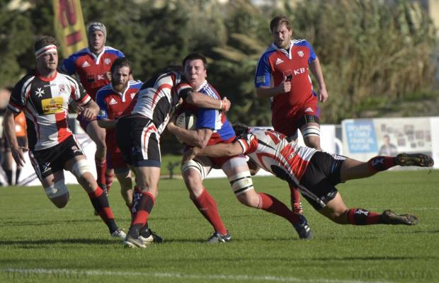 A Czech Republic attack is blocked by the Maltese rearguard during the Division 2A rugby match at Hibs Stadium on November 22. Malta lost 13-20. Photo: Mark Zammit Cordina
