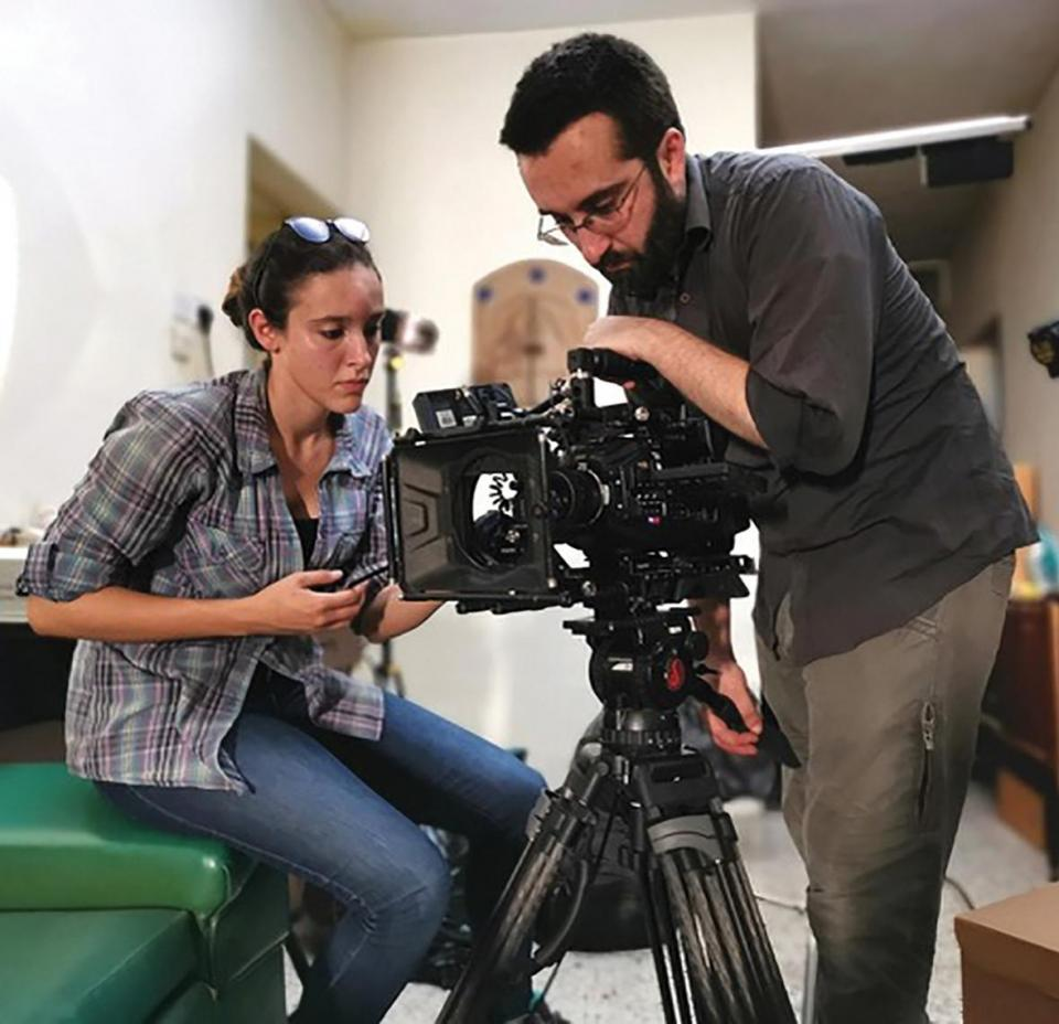 Camera assistant and steadicam operator Ylenia Camilleri-Brennan with director Martin Bonnici.