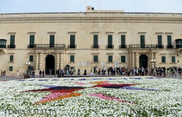 Malta's EU Council presidency logo is the theme of this year's infiorata at St George's Square, Valletta on April 25 as part of the fourth edition of the Valletta Green Festival. Around 80,000 flowering plants were used in a six-hour job carried out by Environmental Landscape Consortium employees. The festival will be spread over a week. Photo: Matthew Mirabelli