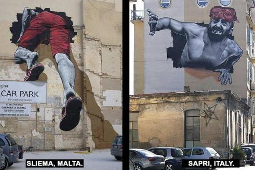 Two parts to the mural, in two different countries.