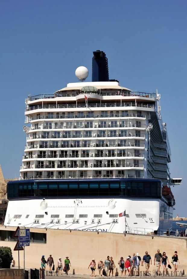 Tourists walk back to their cruise liner before it leaves Malta on June 13. Photo: Chris Sant Fournier