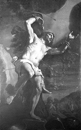 Painting of St Sebastian by Mattia Preti at Sarria church, Floriana.