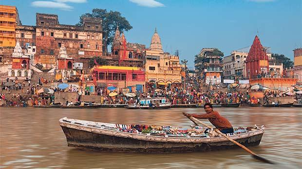 A view of the holy ghats of Varanasi.