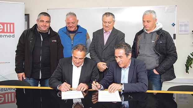 From left: Nikol Schembri, Remic Arapa, Charles Camilleri, Enemed chairman Kevin Chircop, Frank Ellul and Alex Buttigieg.