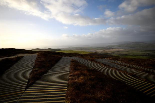 Zig-zag steps lead up to the prehistoric stone fort of Grianan of Aileach, from where one can view the border between Ireland and Northern Ireland. Photo: Clodagh Kilcoyne, Reuters