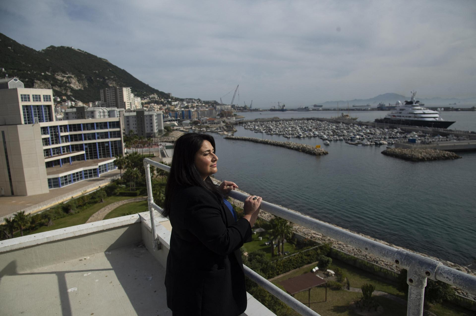 Gibraltar's Minister of Health Samantha Sacramento poses at her office.
