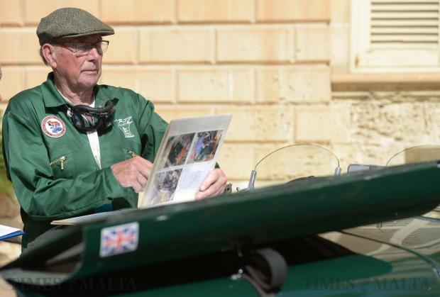 A classic car owner during the judging stage of the Mdina Grand Prix Concours D' Elegance in Mdina on October 7. Photo: Matthew Mirabelli