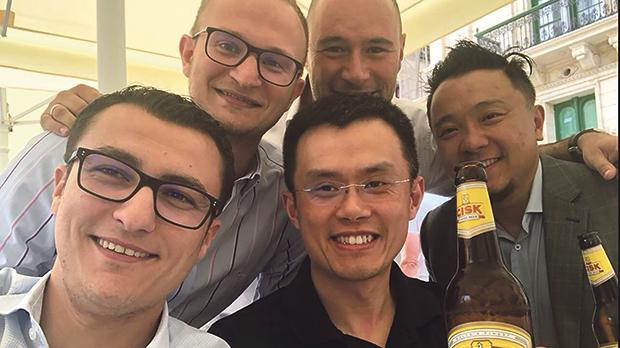 Binance founder Changpeng Zhao enjoying a beer with Parliamentary Secretary Silvio Schembri (left), who fronted Malta's embrace of blockchain.