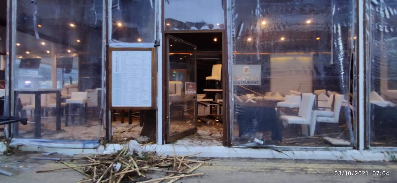 Restaurant C Seven was damaged after a night of heavy rainfall. Photo: Facebook
