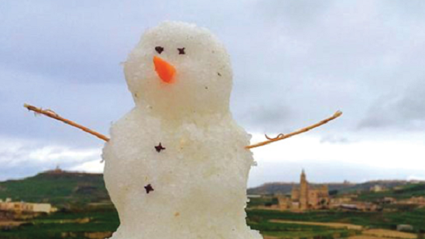 Malta's little snowmen earned the name borrinu this Christmas. Photo: Jonathan Zarb