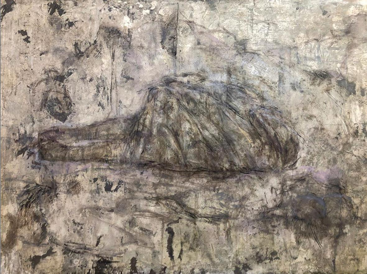 Memory of an Island from the Swath series, mixed media on board
