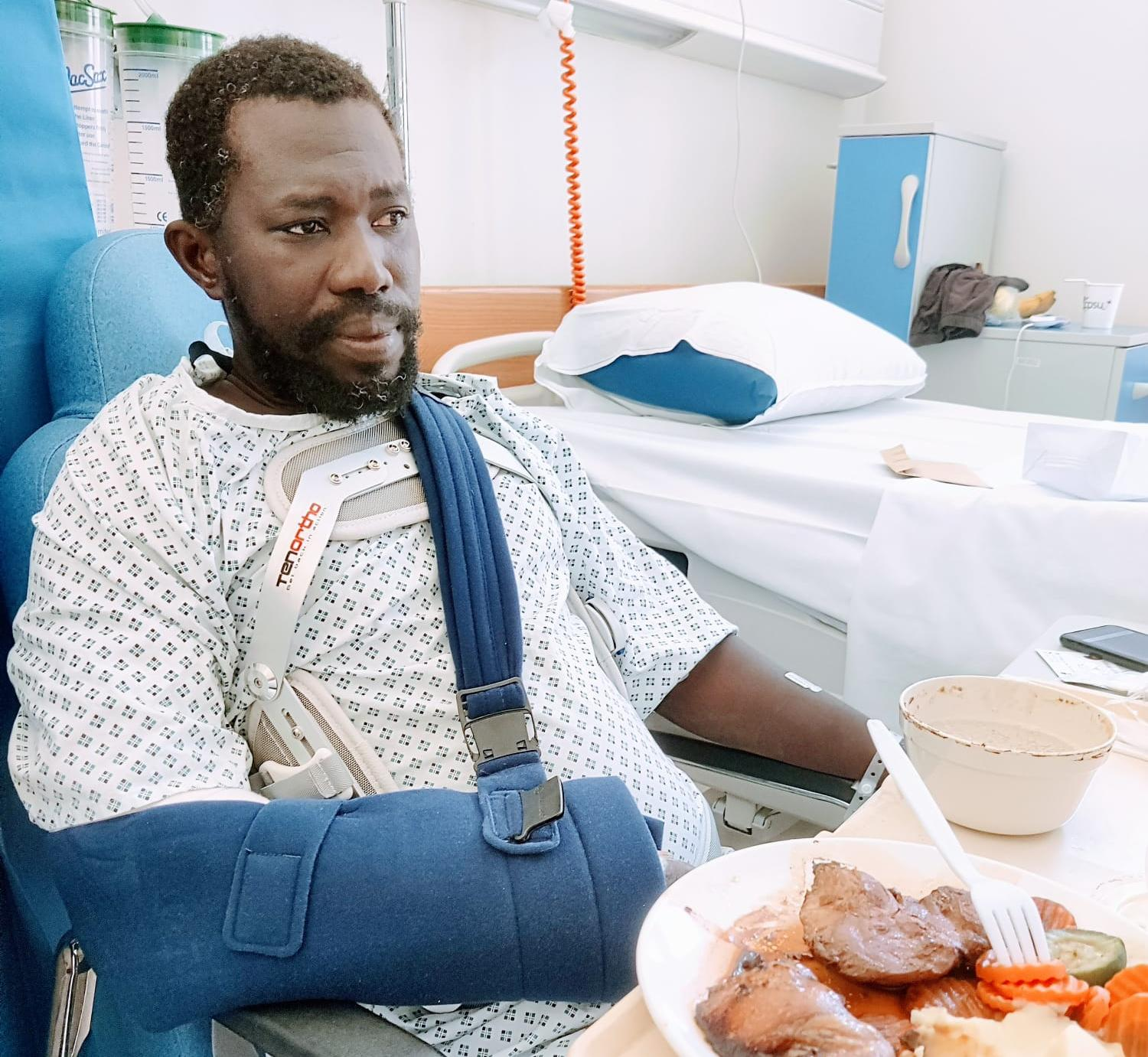 Jaiteh Lamin suffered serious back and arm injuries in the fall. Photo: Caroline Galea