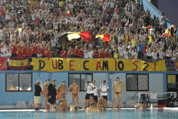 St Julian's supporters cheer on their team during a time out in the final match of the waterpolo league at Tal-Qroqq National Pool on August 29. Photo: Mark Zammit Cordina